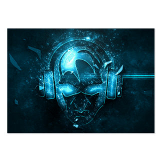 Proffesional blue exploding DJ logo business card