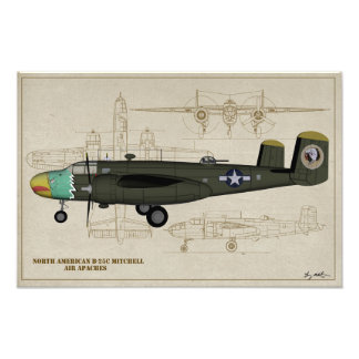 Profile Art USAAF B-25C Mitchell Air Apaches Photo Print