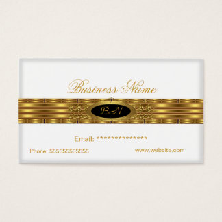 Profile Business White Gold Monogram Black Business Card