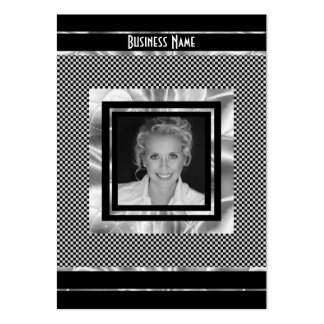 Profile Card Art Deco Silver Black Add Logo Photo Large Business Cards (Pack Of 100)