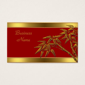Profile Card Asian Red Gold Bamboo