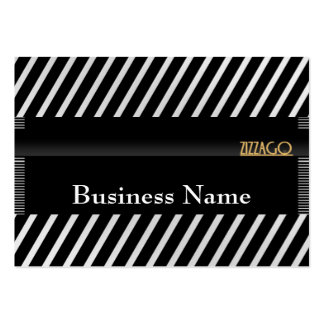 Profile Card Business Black White Stripe Add Logo Large Business Cards (Pack Of 100)