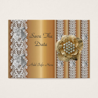 Profile Card Save the Date Wedding Gold Lace Jewel