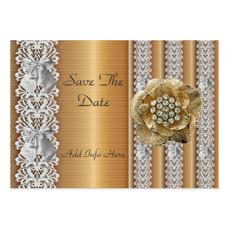 Profile Card Save the Date Wedding Gold Lace Jewel Business Card Templates