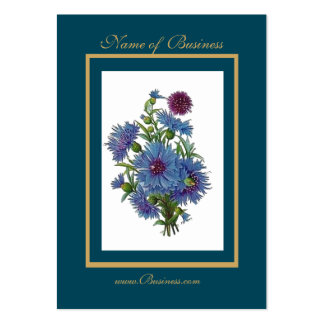 Profile Card Vintage Blue Floral Frame Pack Of Chubby Business Cards