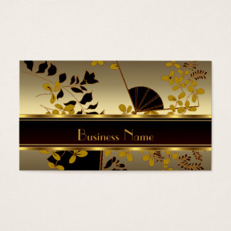 Profile Card Vintage Floral Gold Black Asian