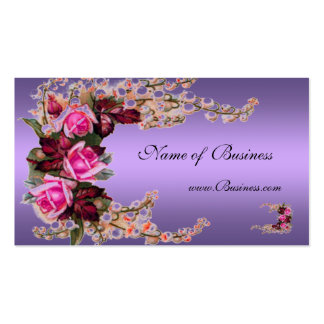 Profile Card Vintage Mauve Purple Pink Roses Pack Of Standard Business Cards