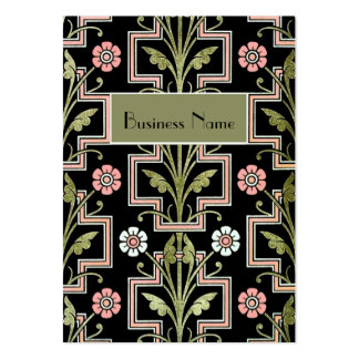 Profile Card Vintage Pink Black Floral Pack Of Chubby Business Cards