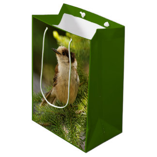 Profile of a Cute Grey Jay / Whiskeyjack Medium Gift Bag
