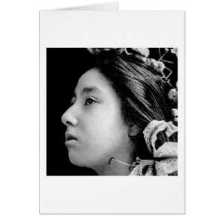 Profile of a Geisha Black and White Beauty Vintage Card