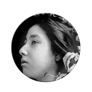Profile of a Geisha Black and White Beauty Vintage Plate