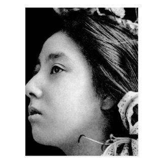 Profile of a Geisha Black and White Beauty Vintage Postcard