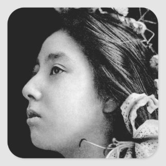 Profile of a Geisha Black and White Beauty Vintage Square Sticker