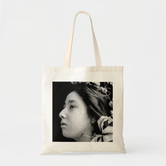 Profile of a Geisha Black and White Beauty Vintage Tote Bag