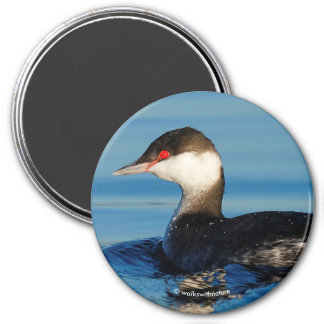 Profile of a Horned Grebe 7.5 Cm Round Magnet