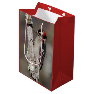 Profile of a Male Downy Woodpecker Medium Gift Bag