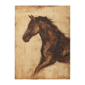 Profile of Brown Wild Horse Wood Wall Decor