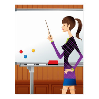 Profile of businesswoman pointing whiteboard postcard