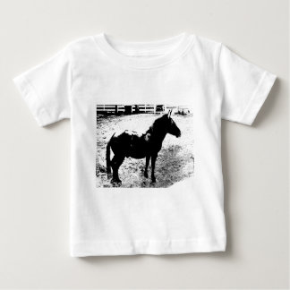 Profile of Mule in Black and White T Shirts
