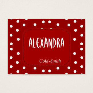Profile Personal Name Card Retro Red White Spot