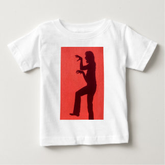 Profile shadow of woman on red wall baby T-Shirt