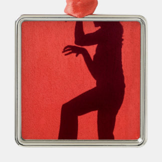 Profile shadow of woman on red wall metal ornament