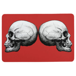 Profile Skull Black and White Floor Mat