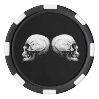 Profile Skull X4 Black And White Protective Bones Poker Chips