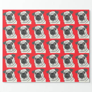 Profound Hounds Pugly Red Wrapping Paper
