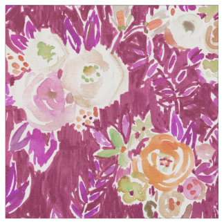 PROFUSION FLORAL Autumn Merlot Rose Watercolor Fabric