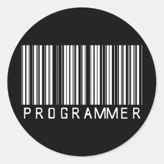 Programmer Bar Code Classic Round Sticker