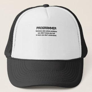 programmer solves problems shirt trucker hat