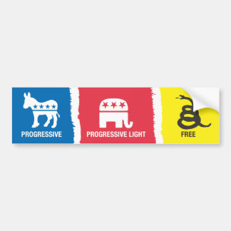 Progressive, Progressive-Light, Free Bumper Sticker