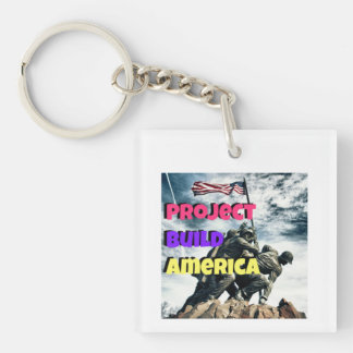 Project Build America Single-Sided Square Acrylic Key Ring