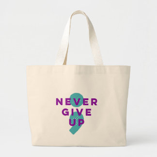 Project Semicolon Never Give Up Suicide Prevention Large Tote Bag