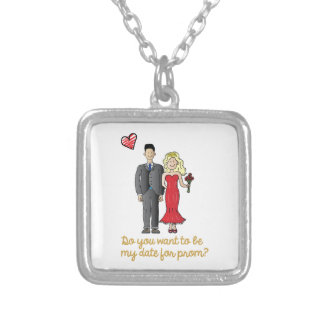prom date silver plated necklace