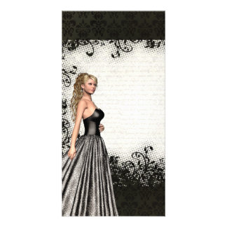 Prom girl in a black dress personalized photo card