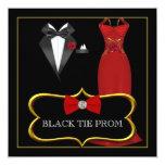 Prom High School Dance Formal Red Black Tie Personalised Invitations