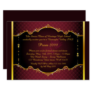Prom invitation,Prom, Prom Senior,elegant, red Card