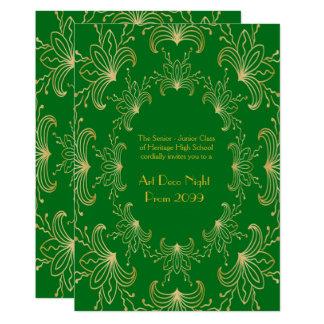 Prom Senior, Art Deco, Flowers Stylized, emerald Card