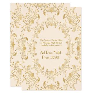 Prom Senior, Art Deco, Flowers Stylized,ivory gold Card