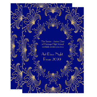 Prom Senior, Art Deco, Flowers Stylized,navy1 gold Card