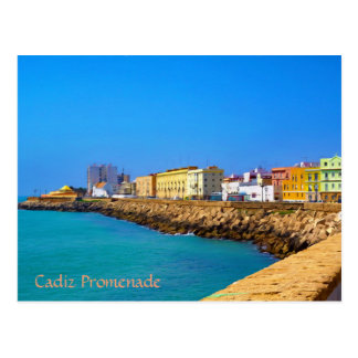 Promenade in Cadiz, Spain (Painted) Postcard
