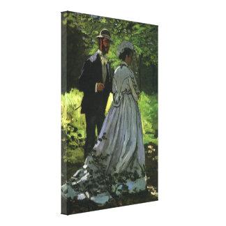 Promenaders by Monet, Vintage Impressionism Art Canvas Print