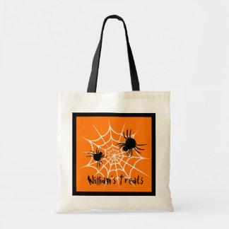 PROMO1 Kids Halloween TREAT BAG SPIDER WEB V17D