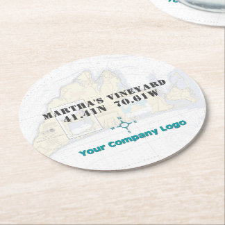 Promo Logo Latitude Longitude Martha's Vineyard Round Paper Coaster