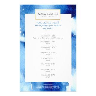 PROMO PRICE SERVICE LIST dark blue watercolor Flyer