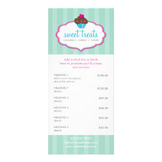 PROMO PRICE SERVICES LIST cupcake bakery mint pink Full Colour Rack Card