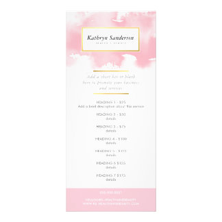 PROMO PRICE SERVICES LIST modern pink watercolor Rack Card