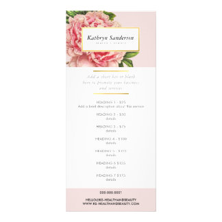 PROMO PRICE SERVICES LIST pink peony flower floral Rack Card